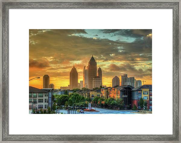 Majestic Gold Midtown Atlantic-station Atlanta Sunrise Art Framed Print