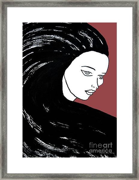 Majestic Lady J0715g Marsala Red Pastel Painting 18-1438 964648 964f4c Framed Print