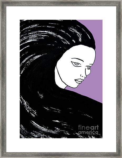 Framed Print featuring the painting Majestic Lady J0715h Radient Orchid Pastel Painting 18-3224 B565a7 A985bb by Mas Art Studio