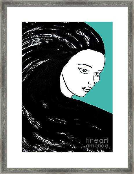 Framed Print featuring the painting Majestic Lady J0715k Turquoise Green Pastel Painting 15-5519 41b6ab by Mas Art Studio