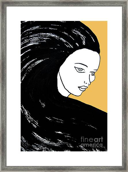Majestic Lady Mimosa Yellow Pastel Painting 14-0848 F0b59 Framed Print