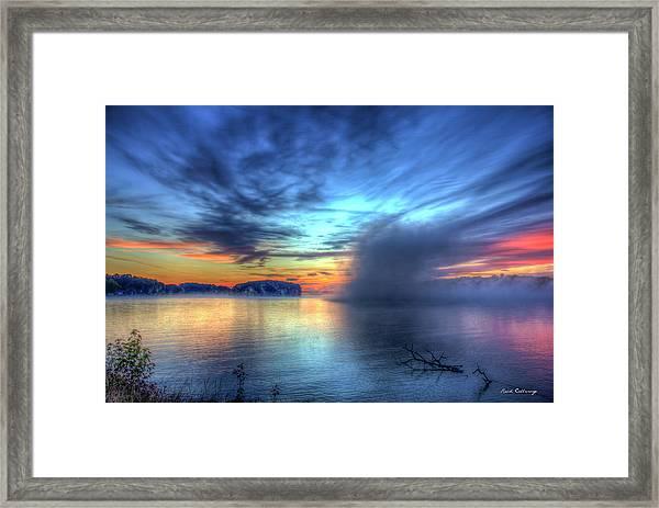 Majestic Sunrise Fog Sugar Creek Lake Oconee Framed Print