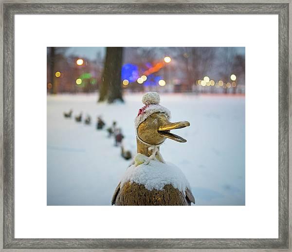 Make Way For Ducklings Winter Hats Boston Public Garden Christmas Framed Print