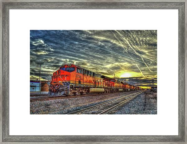 Make Way Resting B N S F Train Gallup New Mexico Art Framed Print