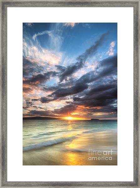 Makena Beach Maui Hawaii Sunset Framed Print