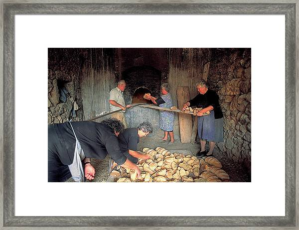 Making Bread In The Old Wood Oven Framed Print
