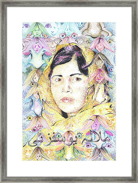 Malala-don't Ignore Us-sombra De Arreguin Framed Print