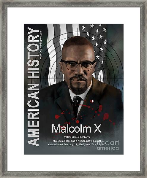 Malcolm X American History Framed Print