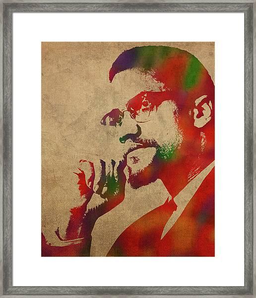 Malcolm X Watercolor Portrait Framed Print