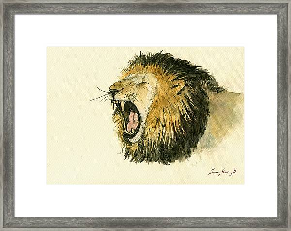 Male Lion Head Painting Framed Print