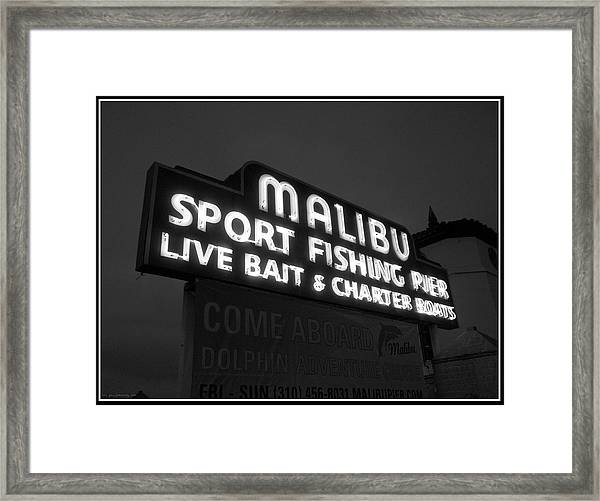 Malibu Pier Sign In Bw Framed Print
