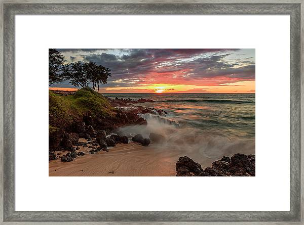 Maluaka Beach Sunset Framed Print