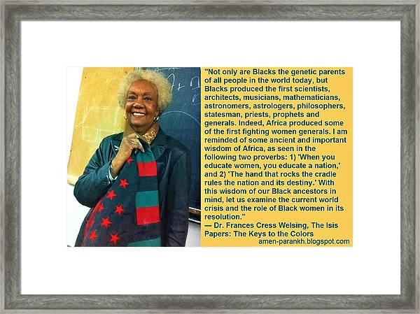 Mama Frances Cress Welsing Framed Print