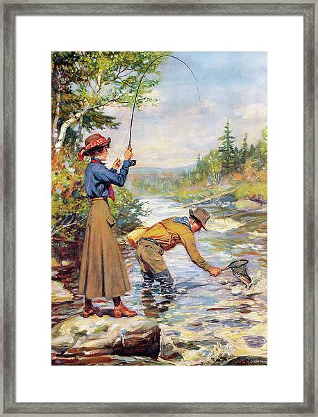 Man And Woman By Stream Framed Print