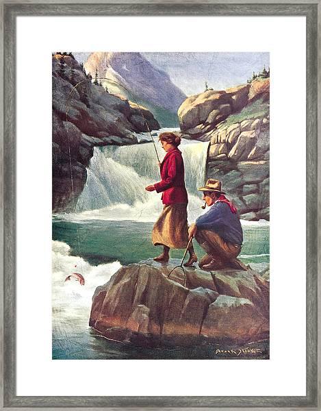 Man And Woman Fishing Framed Print