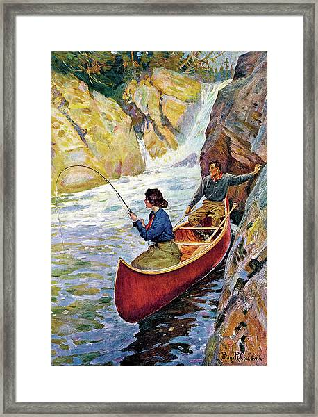Man And Woman In Canoe Framed Print