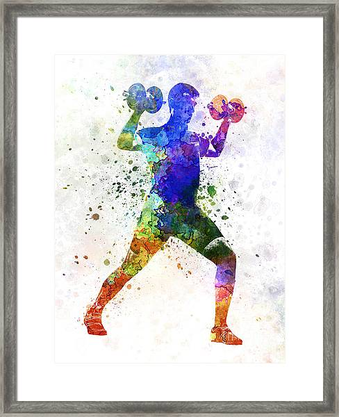 Man Exercising Weight Training Framed Print