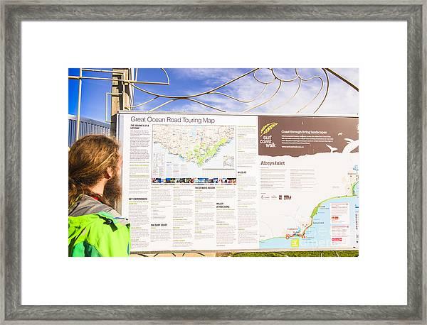 Man Sightseeing The Great Ocean Road Framed Print
