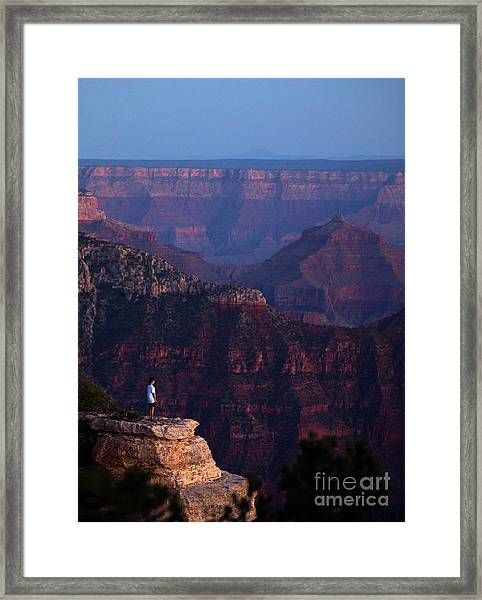 Man Standing On The Edge Framed Print