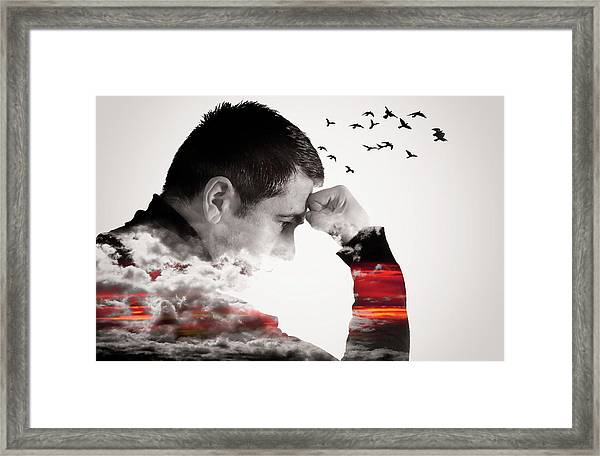 Man Thinking Double Exposure With Birds Framed Print