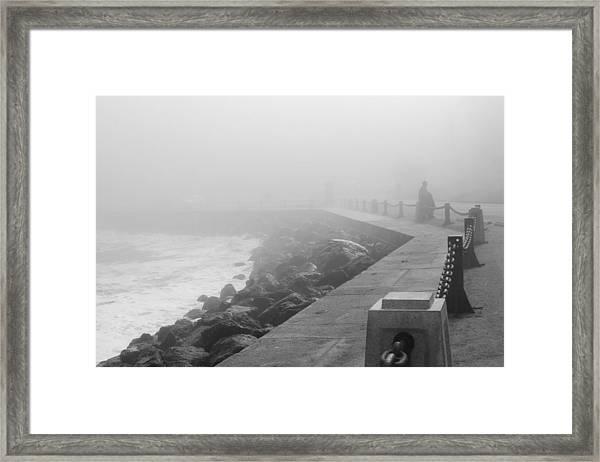 Man Waiting In Fog Framed Print