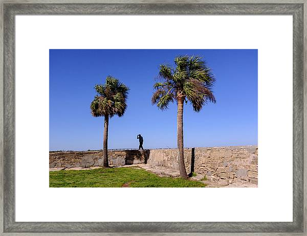Man With A Hat On The Wall With Palm Trees In Saint Augustine Fl Framed Print