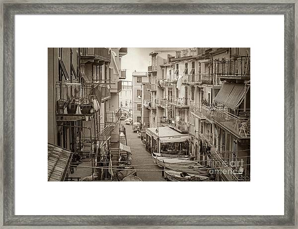 Manarola In Sepia Framed Print