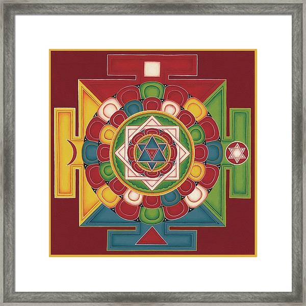Mandala Of The 5 Elements Earth-water-fire-air-space Framed Print