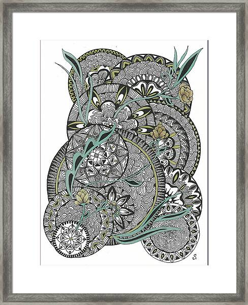 Mandalas With Gold Flowers Framed Print