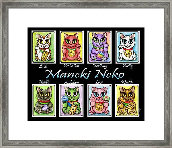Maneki Neko Luck Cats Framed Print