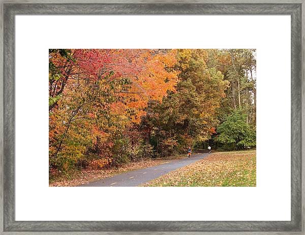 Manhan Rail Trail Fall Colors Framed Print