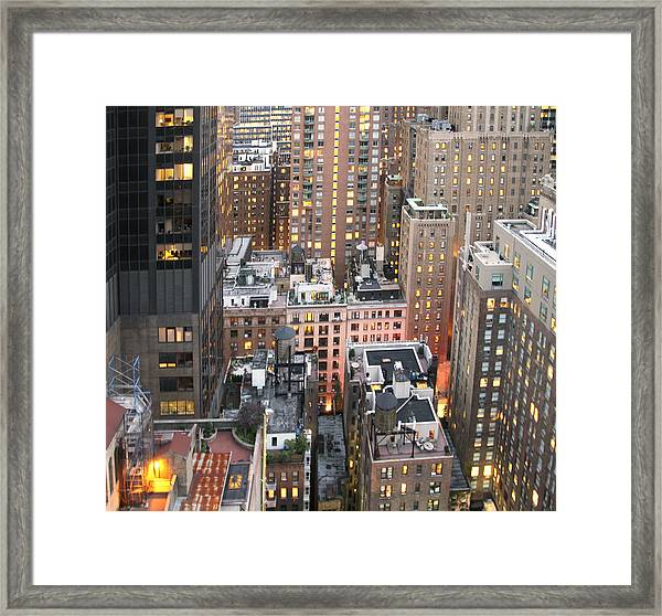 Framed Print featuring the photograph Manhattan At Dusk by Bob Slitzan