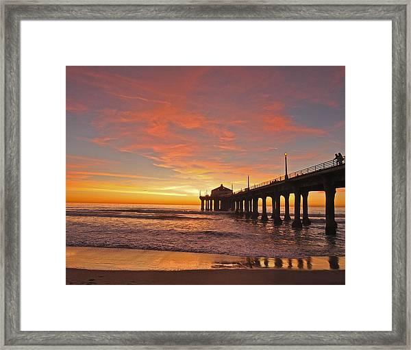 Manhattan Beach Sunset Framed Print