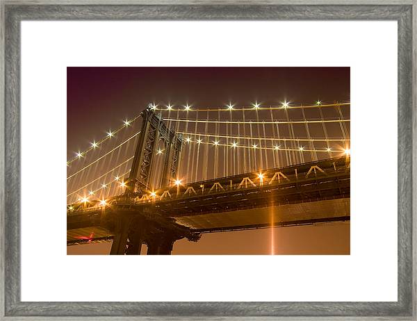 Manhattan Bridge At Night 1 Framed Print