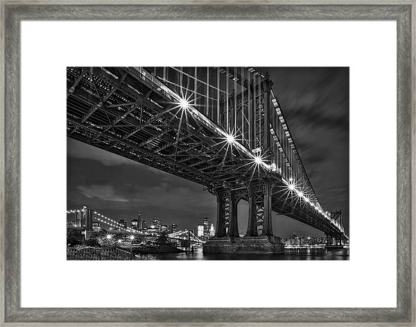 Manhattan Bridge Frames The Brooklyn Bridge Framed Print