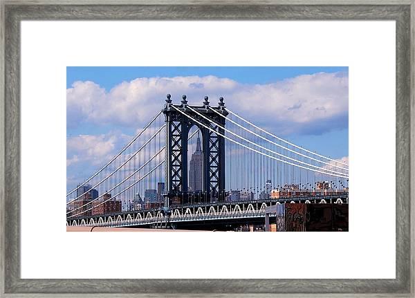 Manhattan Bridge Framing The Empire State Building Framed Print