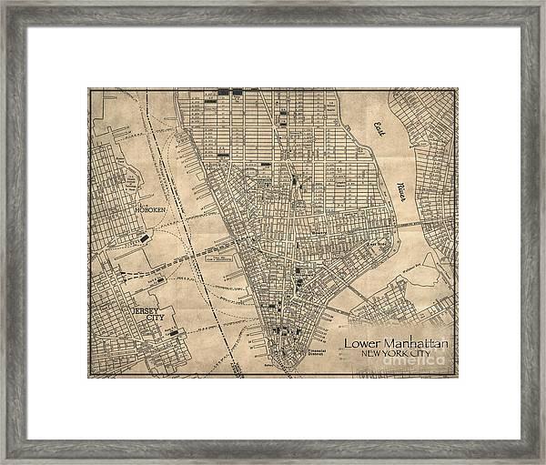 Manhattan New York Antique Vintage City Map Framed Print