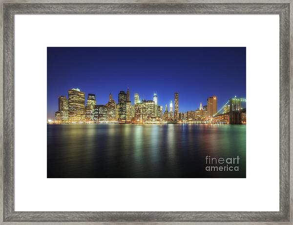 Manhattan Nite Lites Nyc Framed Print