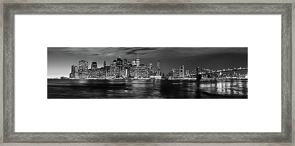 Manhattan Skyline At Dusk From Broklyn Bridge Park In Black And  Framed Print