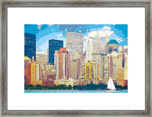 Manhattan Skyline New York City Framed Print