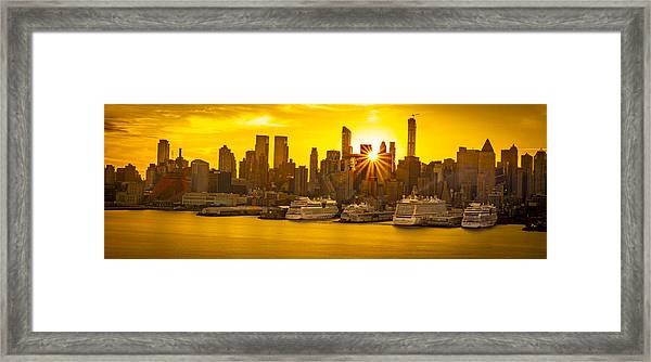 Manhattan's Ports At Sunrise Framed Print