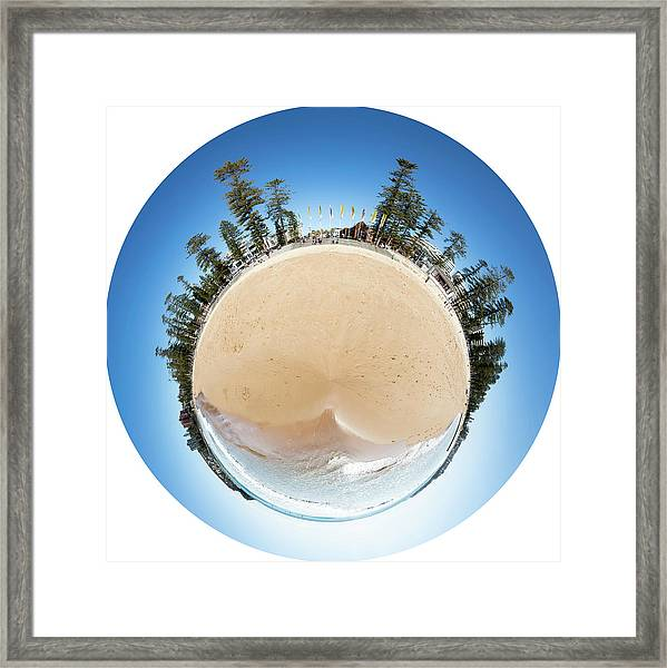 Framed Print featuring the photograph Manly Beach Tiny Planet by Chris Cousins