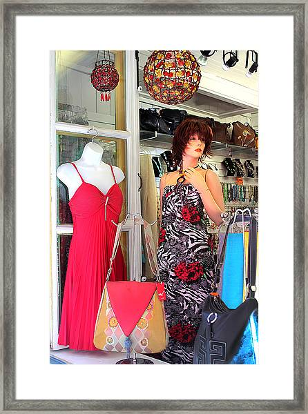 Mannequin With Stripped Flower Dress Framed Print
