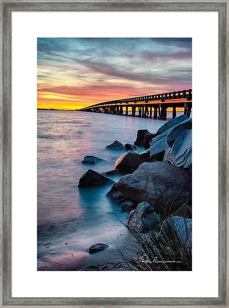 Manns Harbor Bridge Sunset 1127 Framed Print