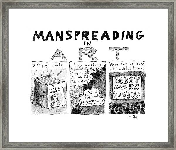 Manspreading In Art Framed Print