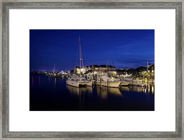 Manteo Waterfront Marina At Night Framed Print