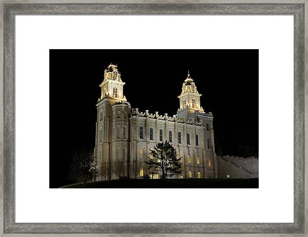 Manti Temple Night Framed Print