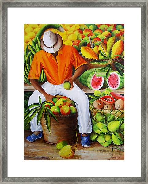 Manuel The Caribbean Fruit Vendor  Framed Print