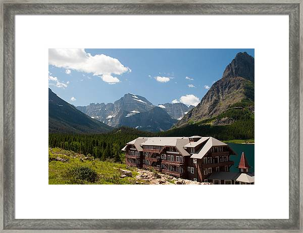 Many Glacier Hotel Framed Print