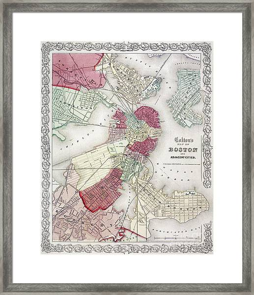 Map: Boston, 1865 Framed Print